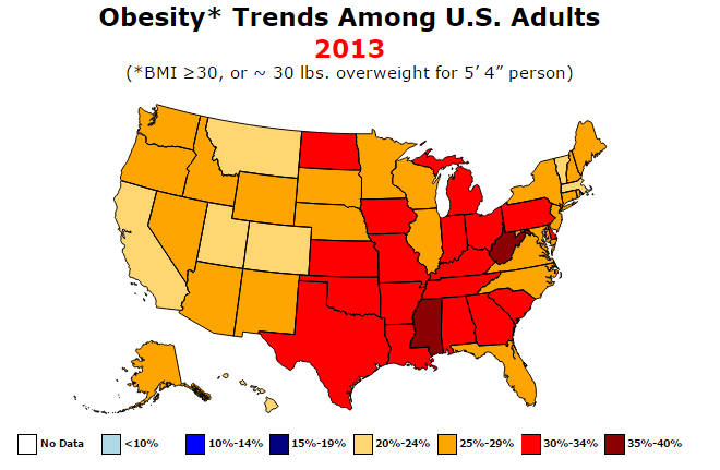 Crazy American Obesity In Four Graphics Metrocosm - Map of obesity us