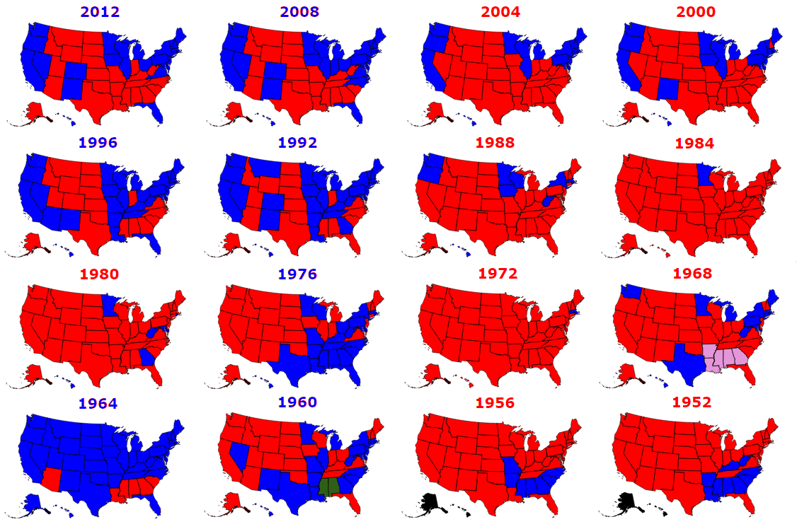 Presidential Elections Used To Be More Colorful Metrocosm - Picture of a us presidential electoral map