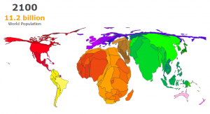 world population cartogram 2100