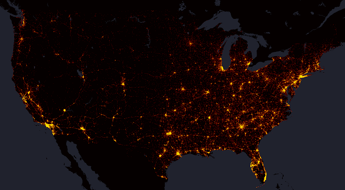 Mapping Years Of Fatal Traffic Accidents Metrocosm - Us night map