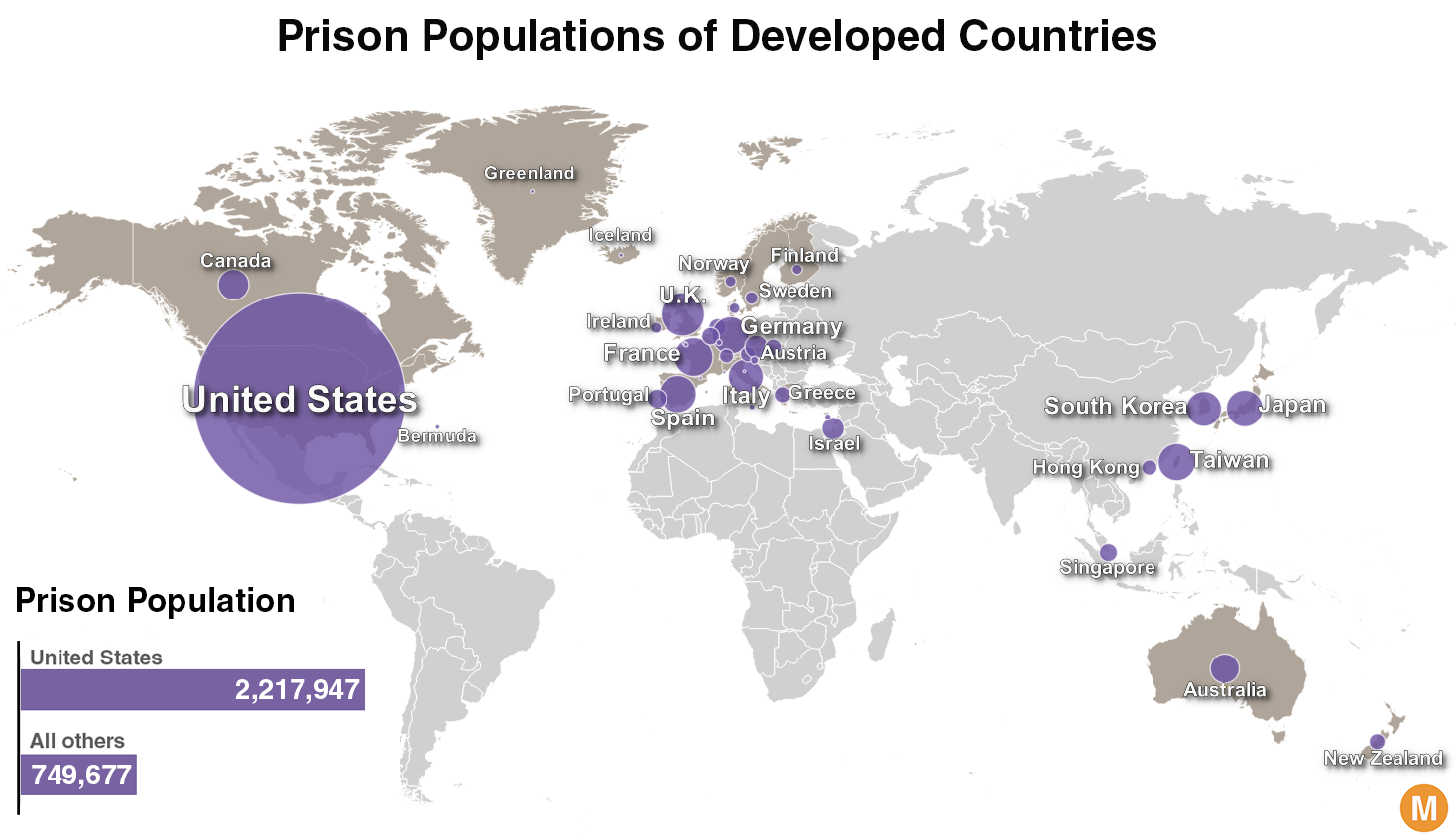 Prisoners In The Free World America S Astronomical Incarceration Rate Metrocosm
