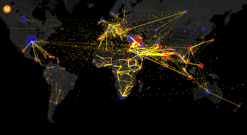 all the worlds immigration visualized in 1 map metrocosm