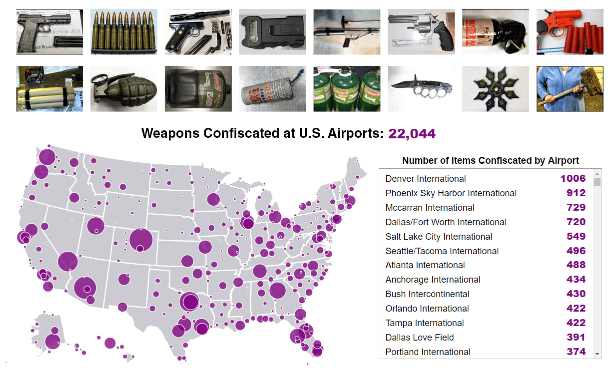Mapping the 22,000 weapons confiscated at U.S. airports in 2015 ...