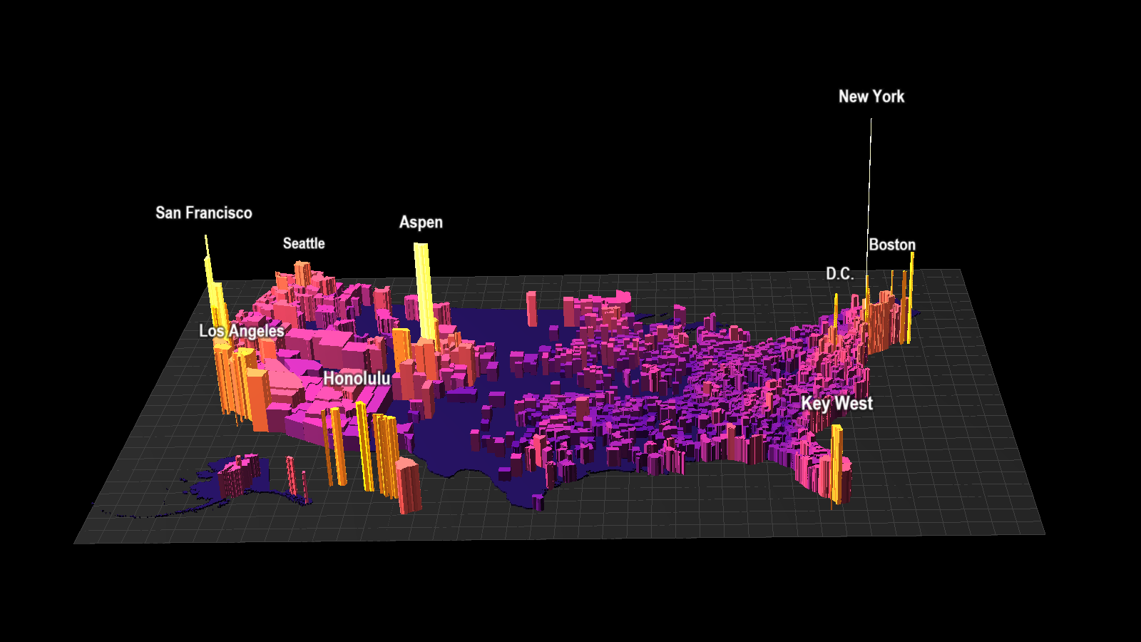 This 3d Map Shows America S Most Expensive Housing Markets Metrocosm Implementing the seamless bay area vision map would result in, for example, almost 2.5 times more people in the bay area would be able to access. metrocosm