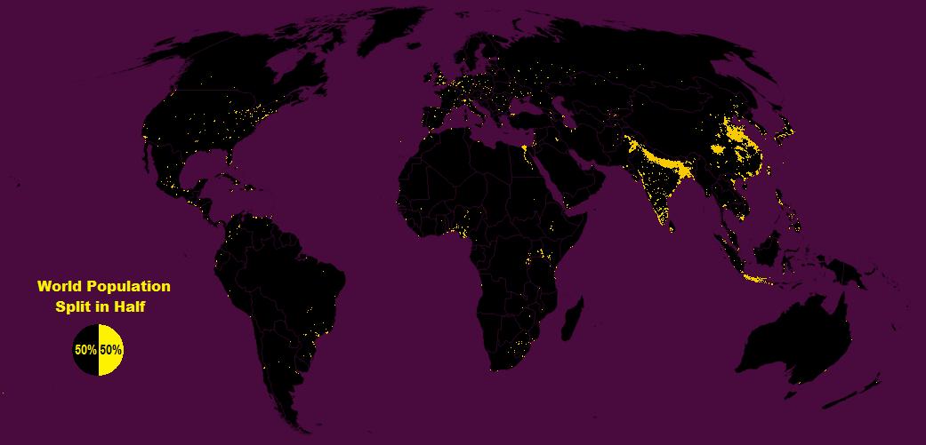 map of world population split in half