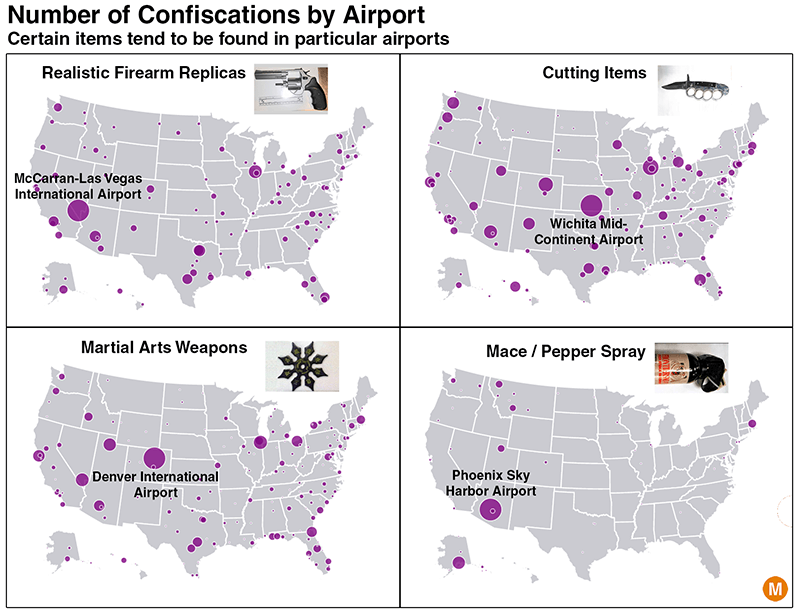 confiscated by airport security map