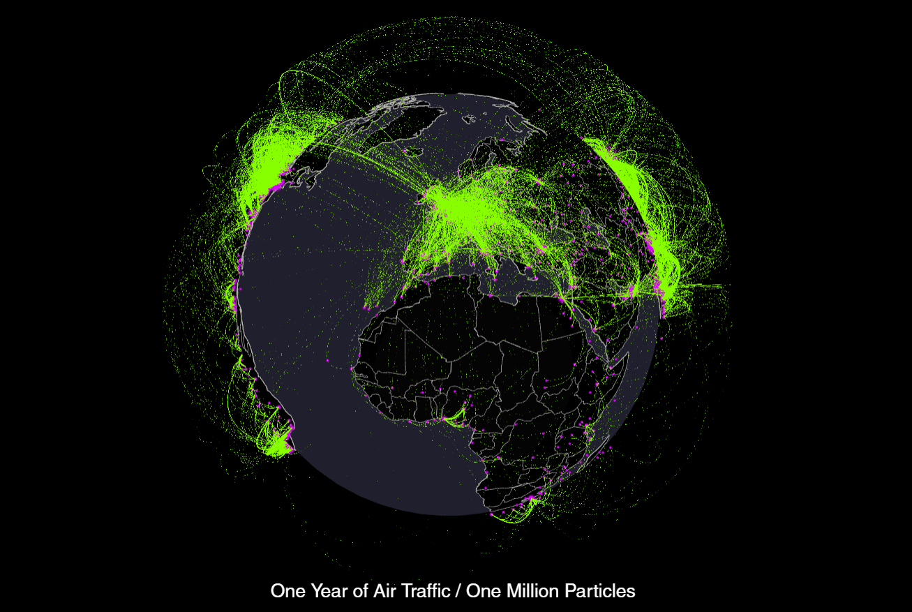 Air Traffic Map Every Plane Flight in the World Over One Year [Animated Map